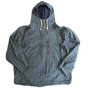 Lands End 90's Checkered 1/4 Zip Hooded Jacket